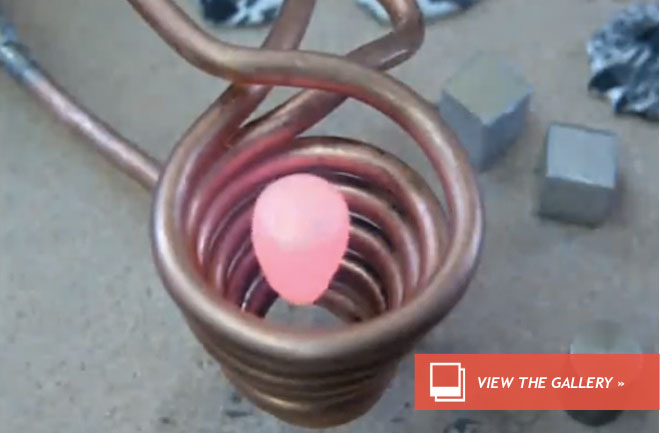 MAGNET LEVITATES AND THEN MELTS METAL