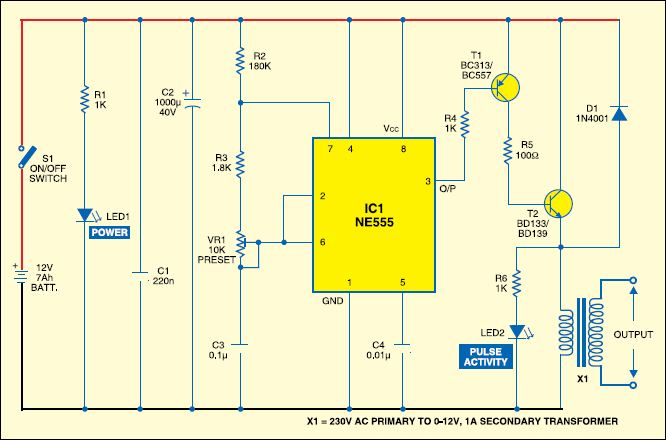 ELECTRIC FENCE CHARGER CIRCUIT BY USING IC NE555 Electronic