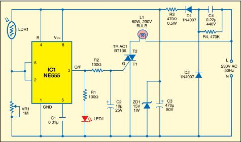 LDR Based Sunset Lamp-IC NE555 Based Circuit - Electronic Projects ...
